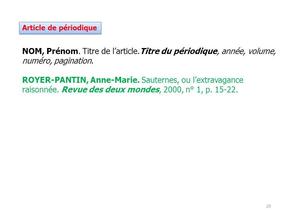 Article de périodique NOM, Prénom. Titre de larticle.Titre du périodique, année, volume, numéro, pagination. ROYER-PANTIN, Anne-Marie. Sauternes, ou l