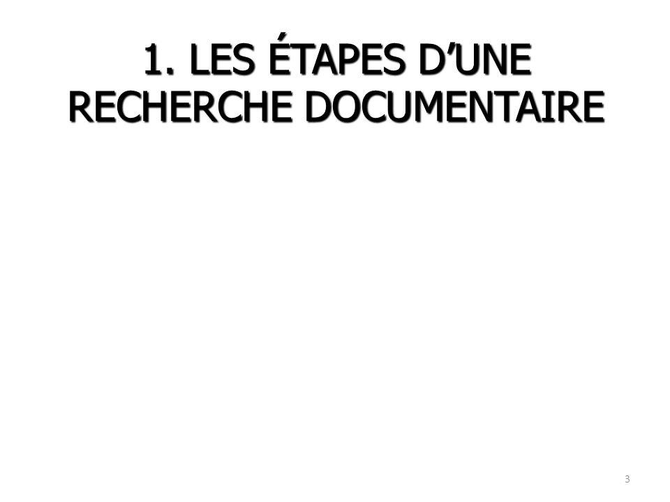 1. LES ÉTAPES DUNE RECHERCHE DOCUMENTAIRE 3