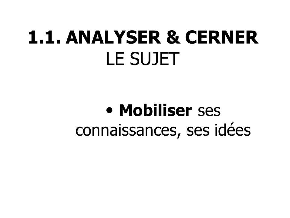 1.1. ANALYSER & CERNER LE SUJET Mobiliser ses connaissances, ses idées