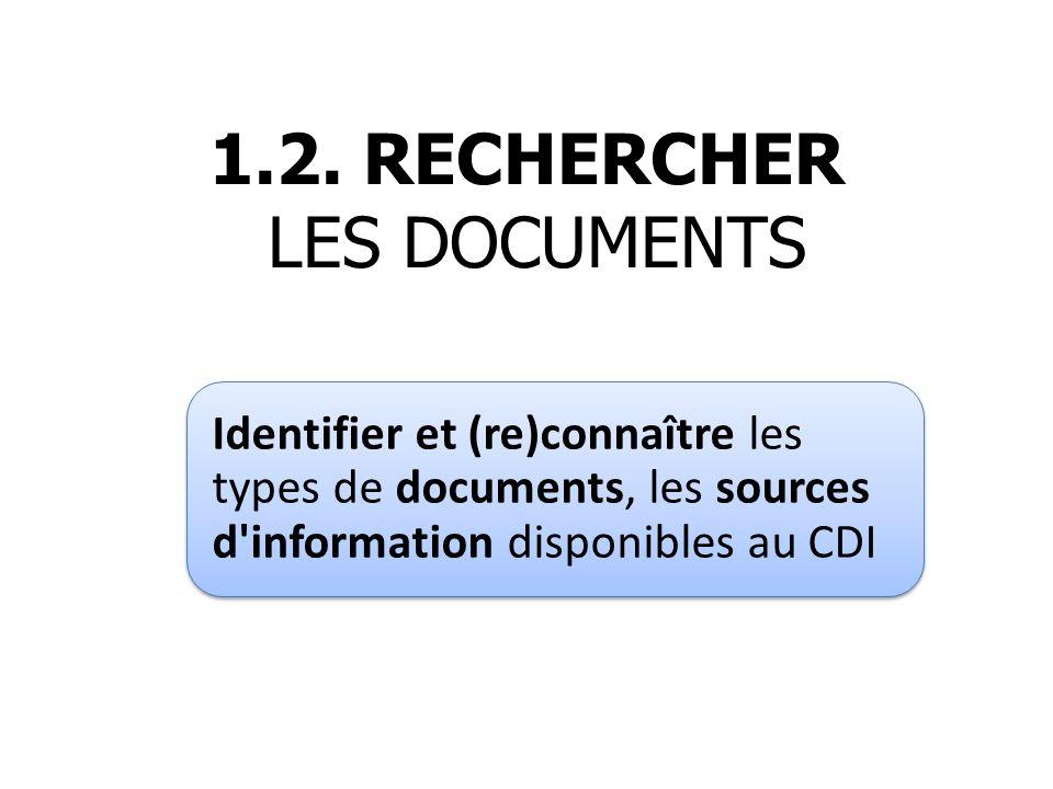 1.2. RECHERCHER LES DOCUMENTS Identifier et (re)connaître les types de documents, les sources d'information disponibles au CDI