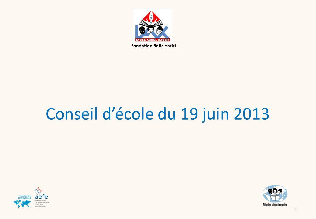Conseil décole du 19 juin 2013 Fondation Rafic Hariri 1