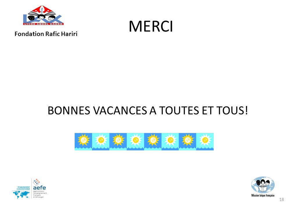 MERCI BONNES VACANCES A TOUTES ET TOUS! 18 Fondation Rafic Hariri