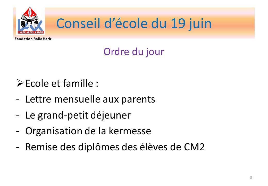 Conseil décole du 19 juin Ordre du jour Ecole et famille : -Lettre mensuelle aux parents -Le grand-petit déjeuner -Organisation de la kermesse -Remise