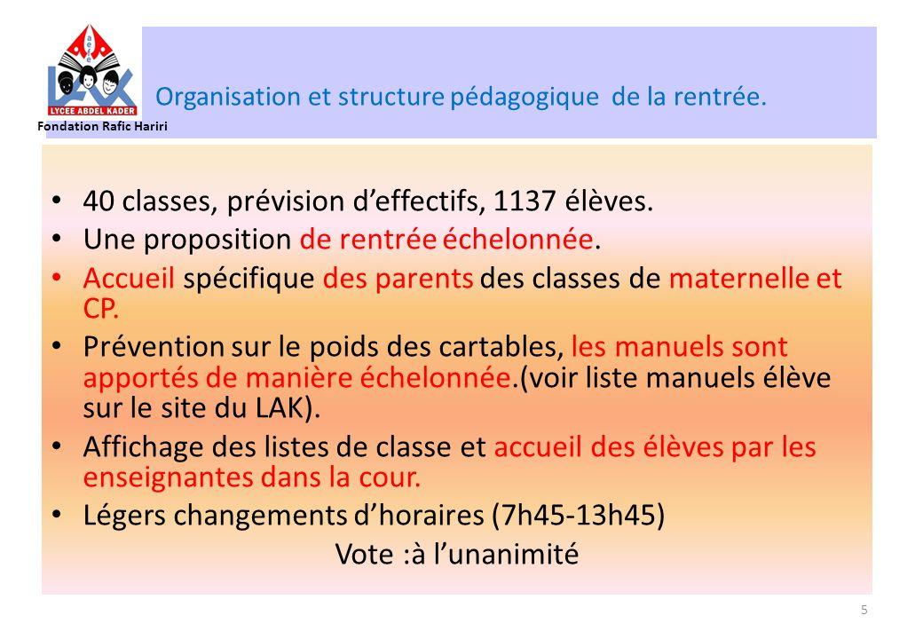 Organisation et structure pédagogique de la rentrée. 40 classes, prévision deffectifs, 1137 élèves. Une proposition de rentrée échelonnée. Accueil spé