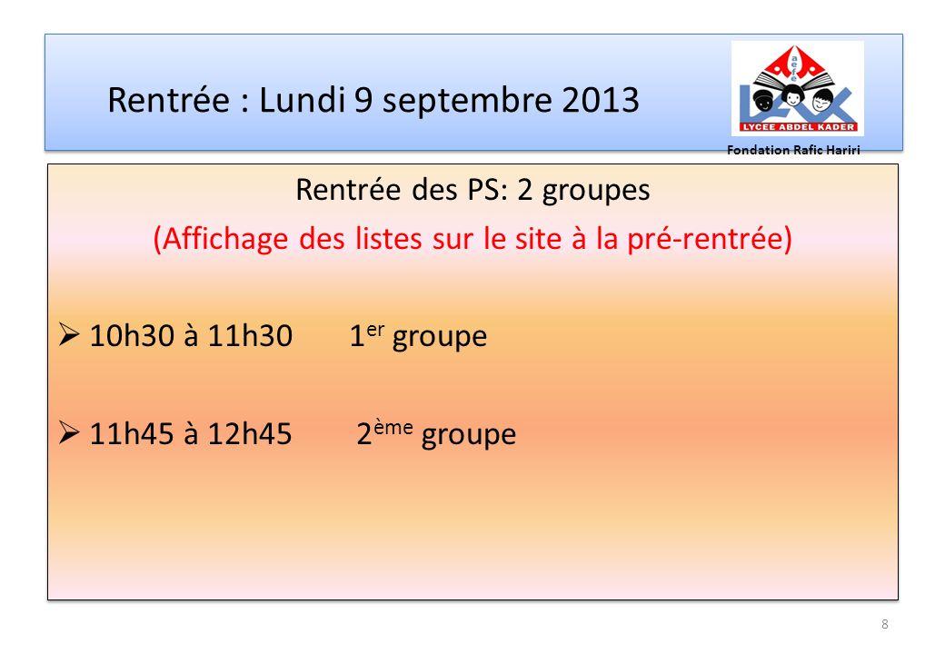 Rentrée : Lundi 9 septembre 2013 Rentrée des PS: 2 groupes (Affichage des listes sur le site à la pré-rentrée) 10h30 à 11h30 1 er groupe 11h45 à 12h45