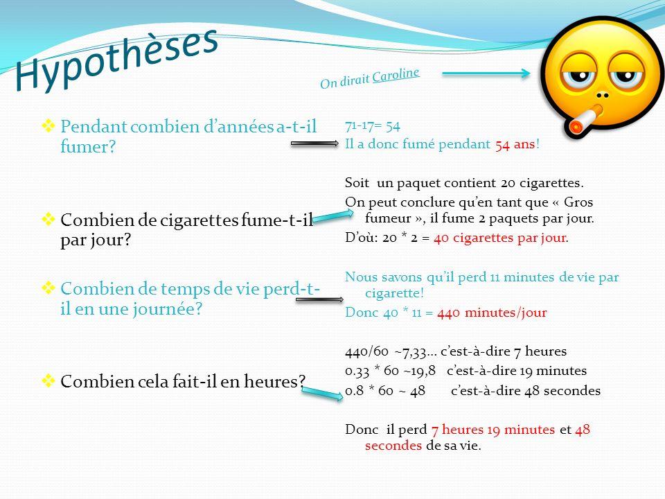 « Selon une étude scientifique, chaque cigarette réduit la vie de 11 minutes! » Un « gros fumeur » a commencé à fumer des cigarettes à lâge de 17 ans