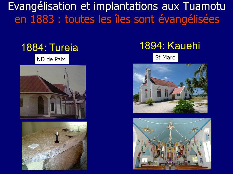 1884: Tureia 1894: Kauehi ND de Paix St Marc Evangélisation et implantations aux Tuamotu en 1883 : toutes les îles sont évangélisées