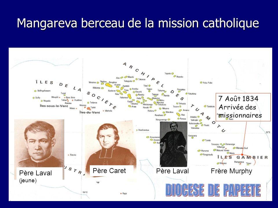 Mangareva berceau de la mission catholique 7 Août 1834 Arrivée des missionnaires Père Laval Père Caret Père Laval (jeune) Frère Murphy