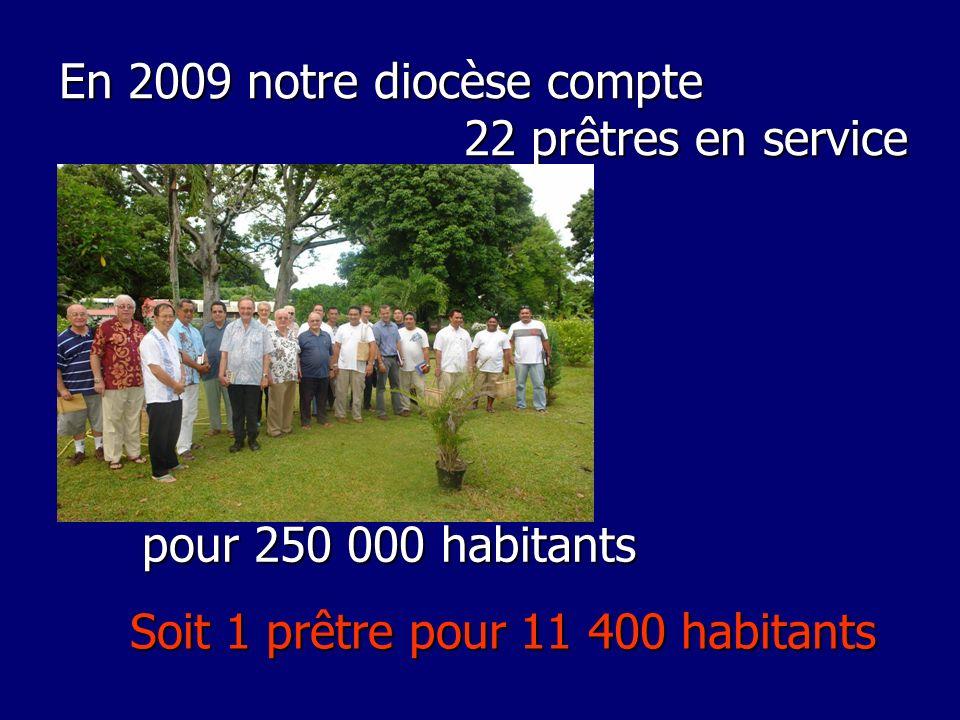 En 2009 notre diocèse compte 22 prêtres en service pour 250 000 habitants Soit 1 prêtre pour 11 400 habitants