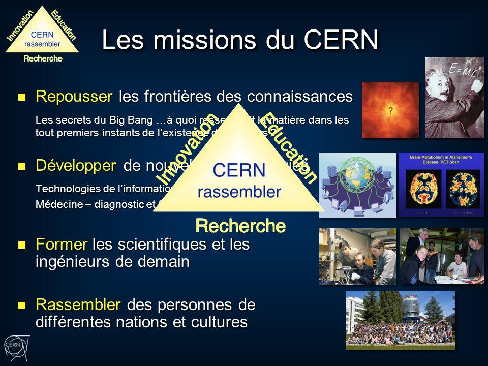 Les missions du CERN Repousser les frontières des connaissances Repousser les frontières des connaissances Les secrets du Big Bang …à quoi ressemblait la matière dans les tout premiers instants de lexistence de lUnivers .