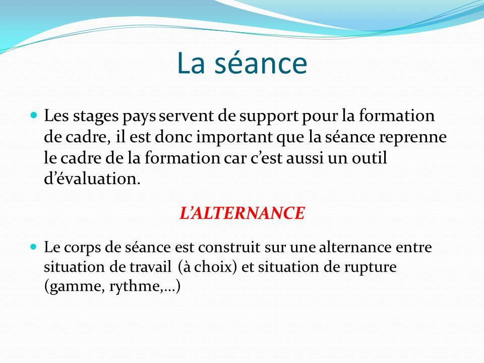 La séance Les stages pays servent de support pour la formation de cadre, il est donc important que la séance reprenne le cadre de la formation car ces