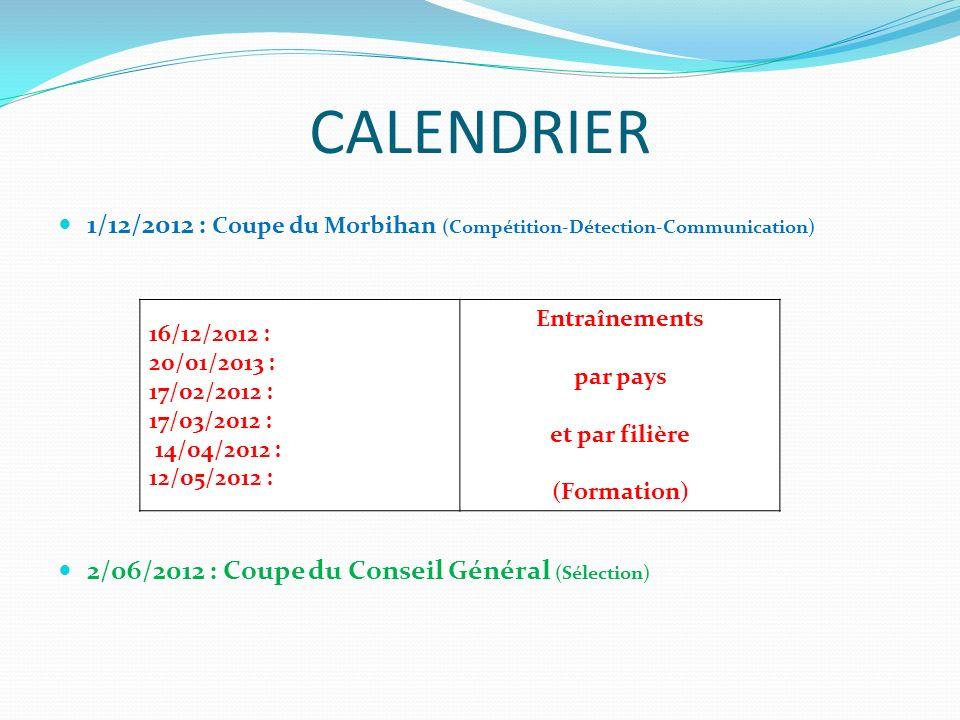 CALENDRIER 1/12/2012 : Coupe du Morbihan (Compétition-Détection-Communication) 2/06/2012 : Coupe du Conseil Général (Sélection) 16/12/2012 : 20/01/201