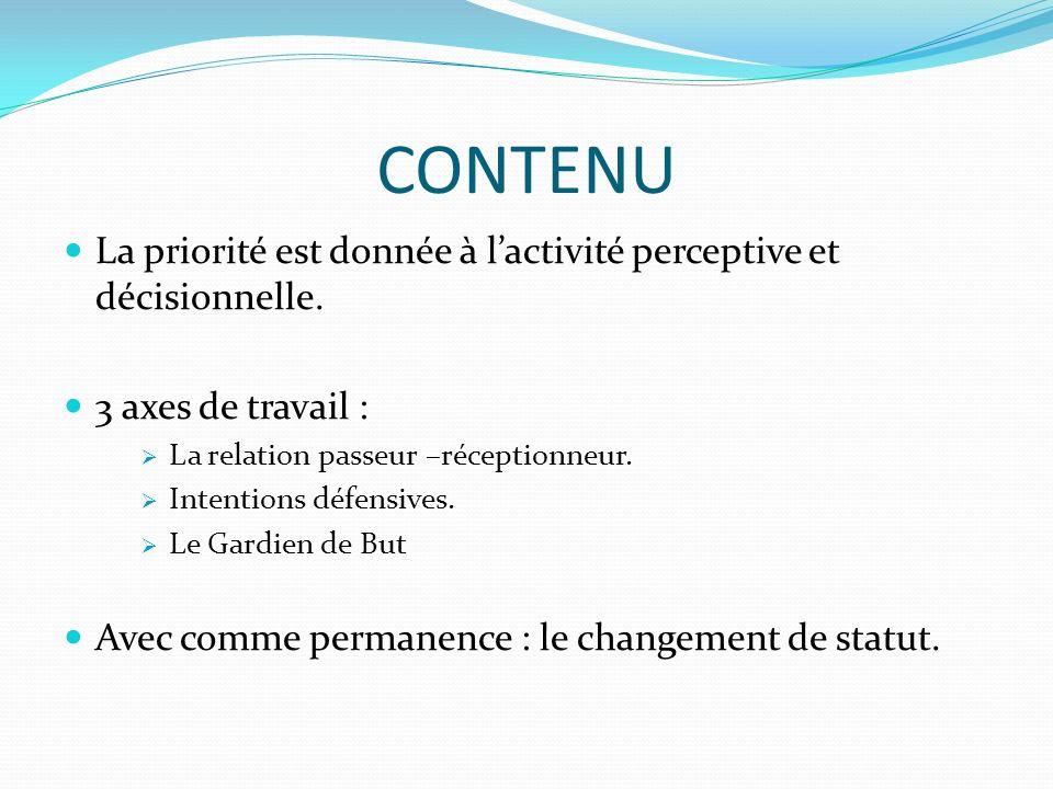 CONTENU La priorité est donnée à lactivité perceptive et décisionnelle. 3 axes de travail : La relation passeur –réceptionneur. Intentions défensives.
