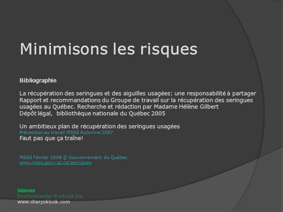 Bibliographie La récupération des seringues et des aiguilles usagées: une responsabilité à partager Rapport et recommandations du Groupe de travail sur la récupération des seringues usagées au Québec.