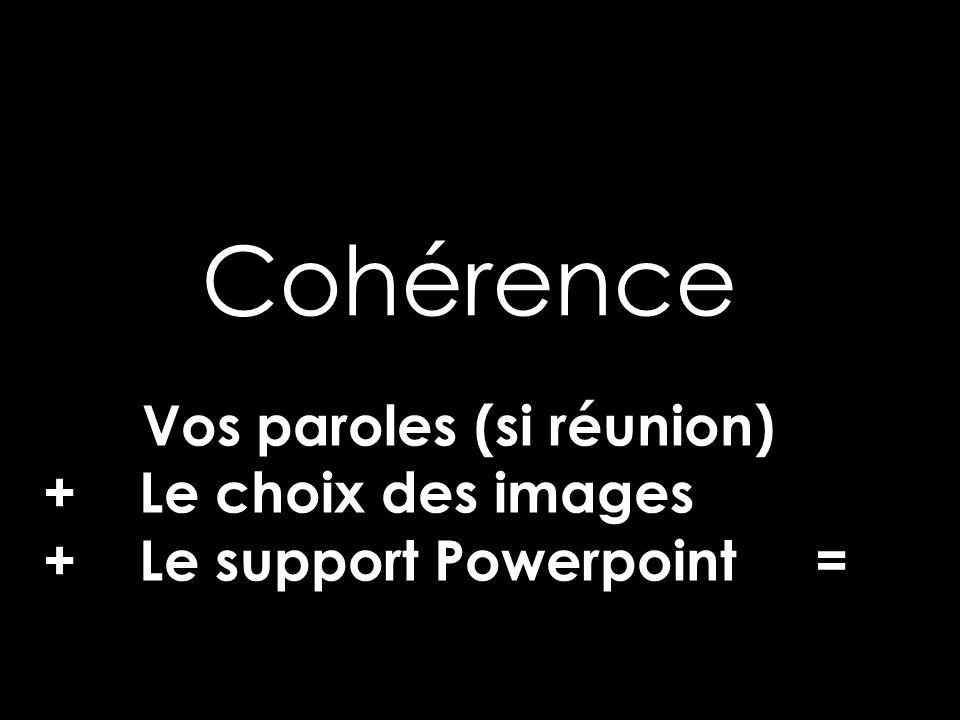 Cohérence Vos paroles (si réunion) + Le choix des images + Le support Powerpoint =