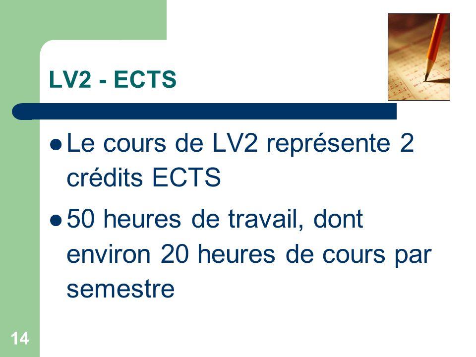 14 LV2 - ECTS Le cours de LV2 représente 2 crédits ECTS 50 heures de travail, dont environ 20 heures de cours par semestre