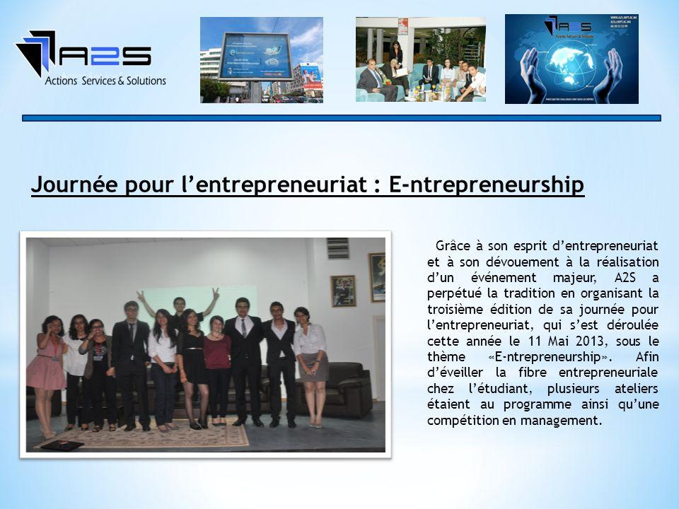 Grâce à son esprit dentrepreneuriat et à son dévouement à la réalisation dun événement majeur, A2S a perpétué la tradition en organisant la troisième édition de sa journée pour lentrepreneuriat, qui sest déroulée cette année le 11 Mai 2013, sous le thème «E-ntrepreneurship».