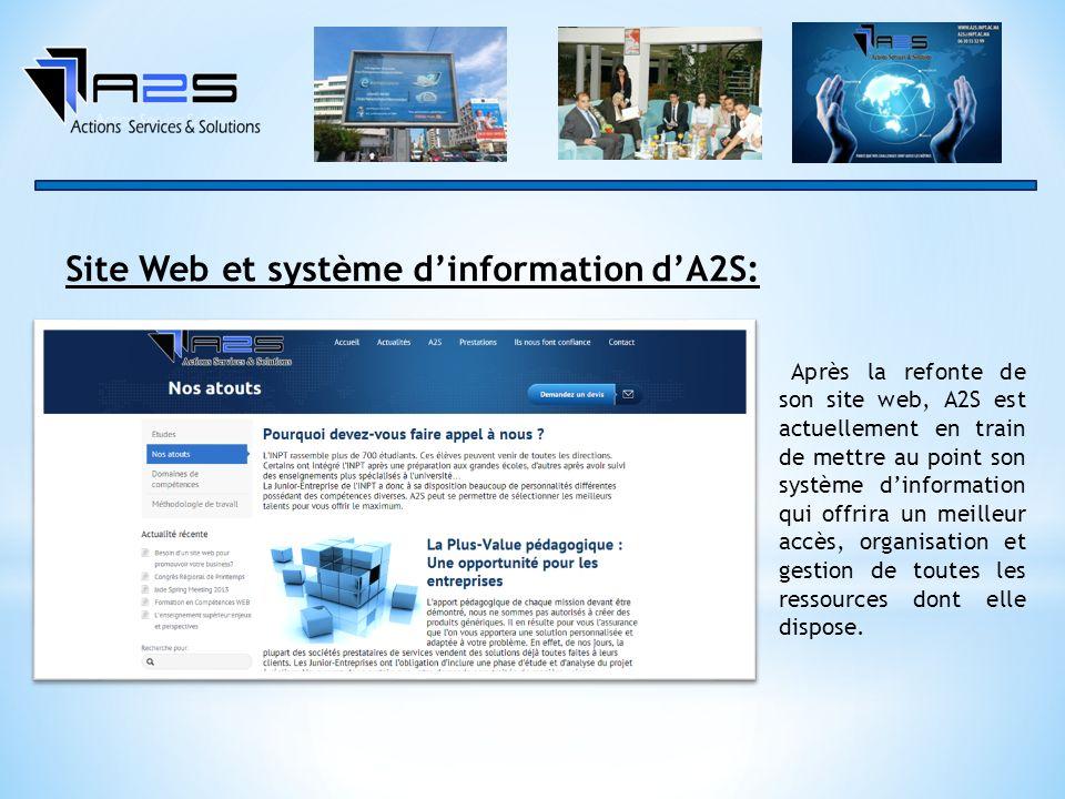 Site Web et système dinformation dA2S: Après la refonte de son site web, A2S est actuellement en train de mettre au point son système dinformation qui offrira un meilleur accès, organisation et gestion de toutes les ressources dont elle dispose.