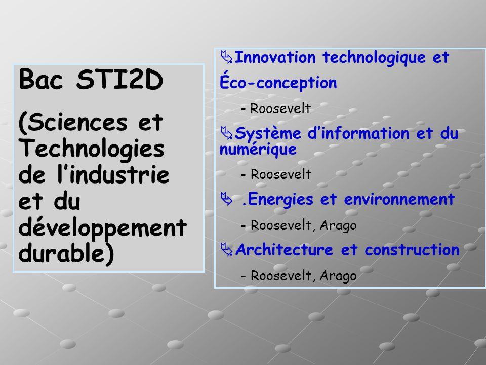 .Innovation technologique et Éco-conception - Roosevelt.Système dinformation et du numérique - Roosevelt.Energies et environnement - Roosevelt, Arago.