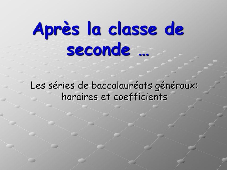 Après la classe de seconde … Les séries de baccalauréats généraux: horaires et coefficients