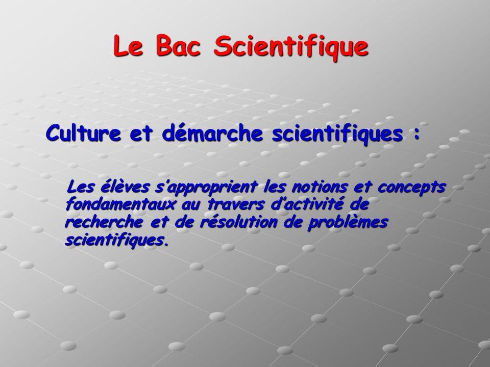 Le Bac Scientifique Culture et démarche scientifiques : Les élèves sapproprient les notions et concepts fondamentaux au travers dactivité de recherche