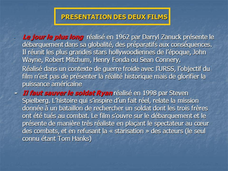 PRESENTATION DES DEUX FILMS - Le jour le plus long réalisé en 1962 par Darryl Zanuck présente le débarquement dans sa globalité, des préparatifs aux c