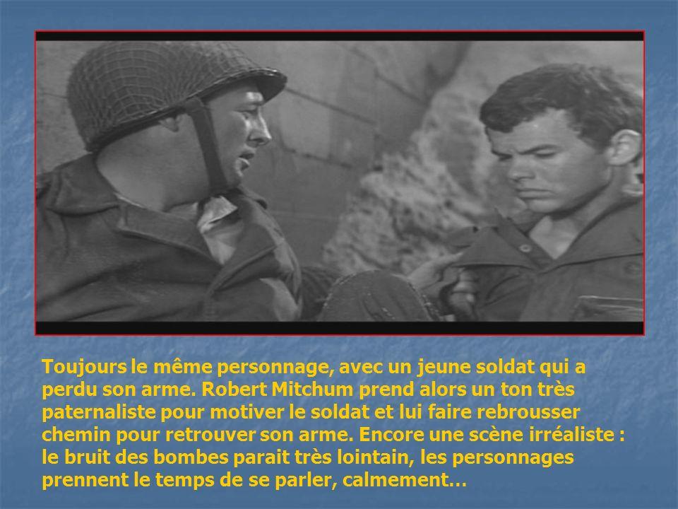 Le personnage dHenry Fonda, qui joue un général (qui a débarqué avec une canne et sans arme!!!) prend le temps de réunir son bataillon (alors que les combats font rage derrière) pour leur expliquer la stratégie : il est à la fois capable de donner avec précision lendroit où il se trouve et le point de rendez vous futur…