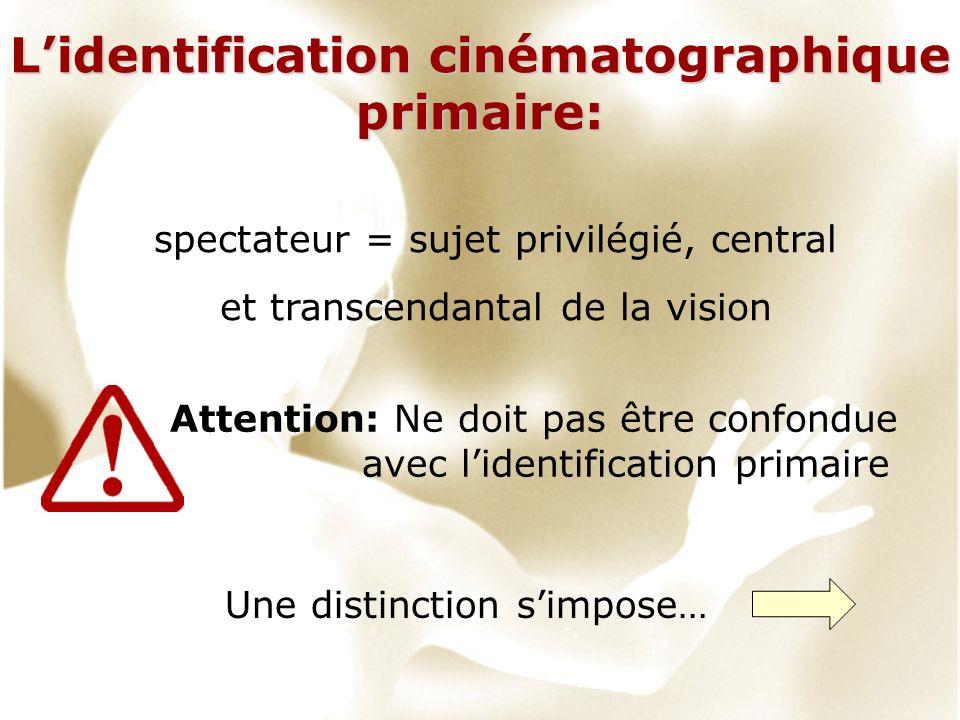 Lidentification cinématographique primaire: spectateur = sujet privilégié, central et transcendantal de la vision Attention: Ne doit pas être confondue avec lidentification primaire Une distinction simpose…