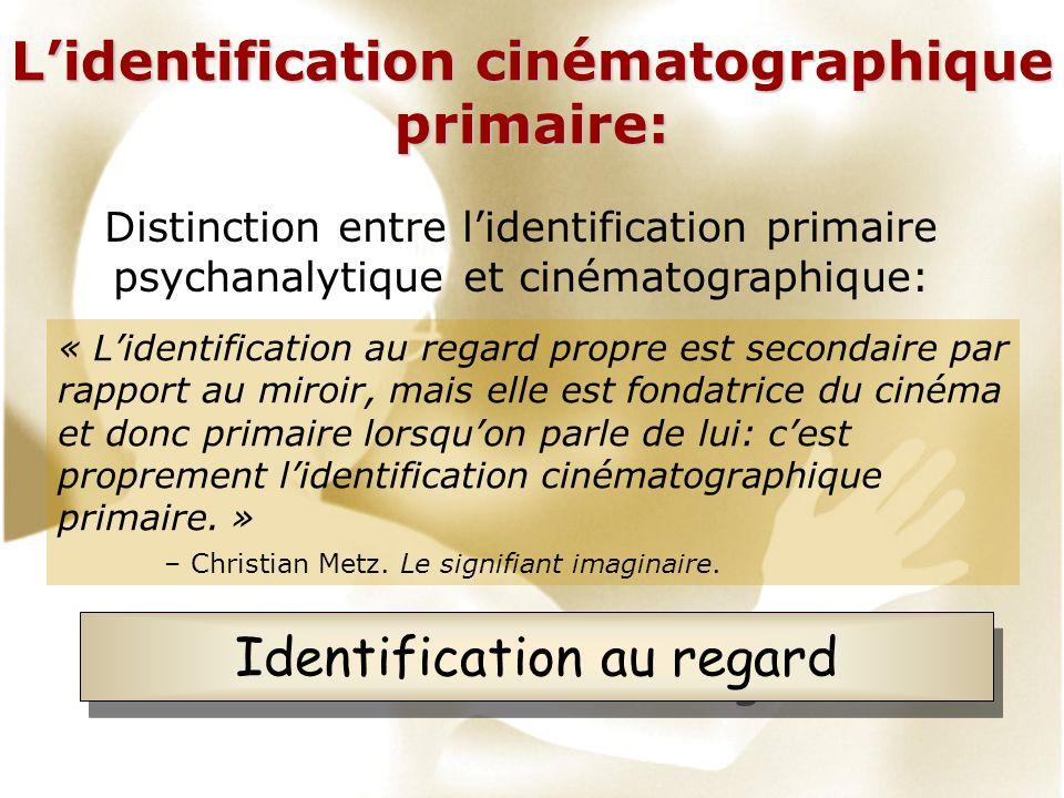 Lidentification cinématographique primaire: Distinction entre lidentification primaire psychanalytique et cinématographique: « Lidentification au rega