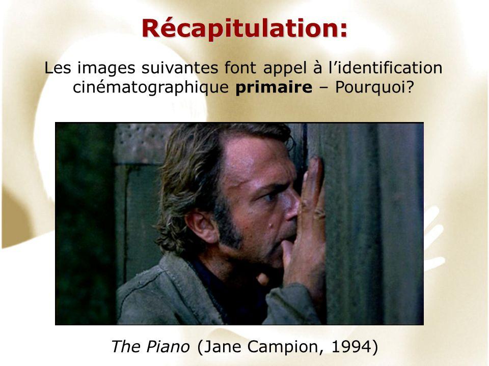 Récapitulation: Les images suivantes font appel à lidentification cinématographique primaire – Pourquoi? The Piano (Jane Campion, 1994)