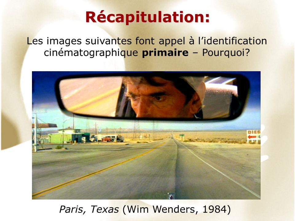 Récapitulation: Les images suivantes font appel à lidentification cinématographique primaire – Pourquoi? Paris, Texas (Wim Wenders, 1984)