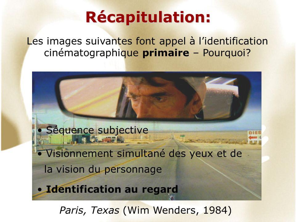 Récapitulation: Les images suivantes font appel à lidentification cinématographique primaire – Pourquoi? Paris, Texas (Wim Wenders, 1984) Séquence sub
