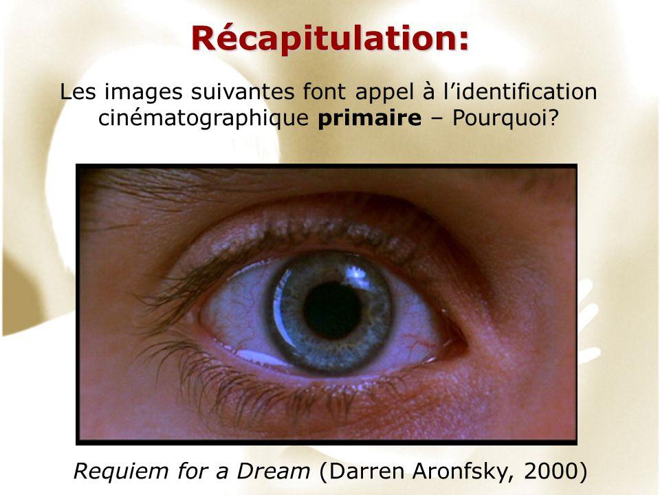 Récapitulation: Requiem for a Dream (Darren Aronfsky, 2000) Les images suivantes font appel à lidentification cinématographique primaire – Pourquoi?