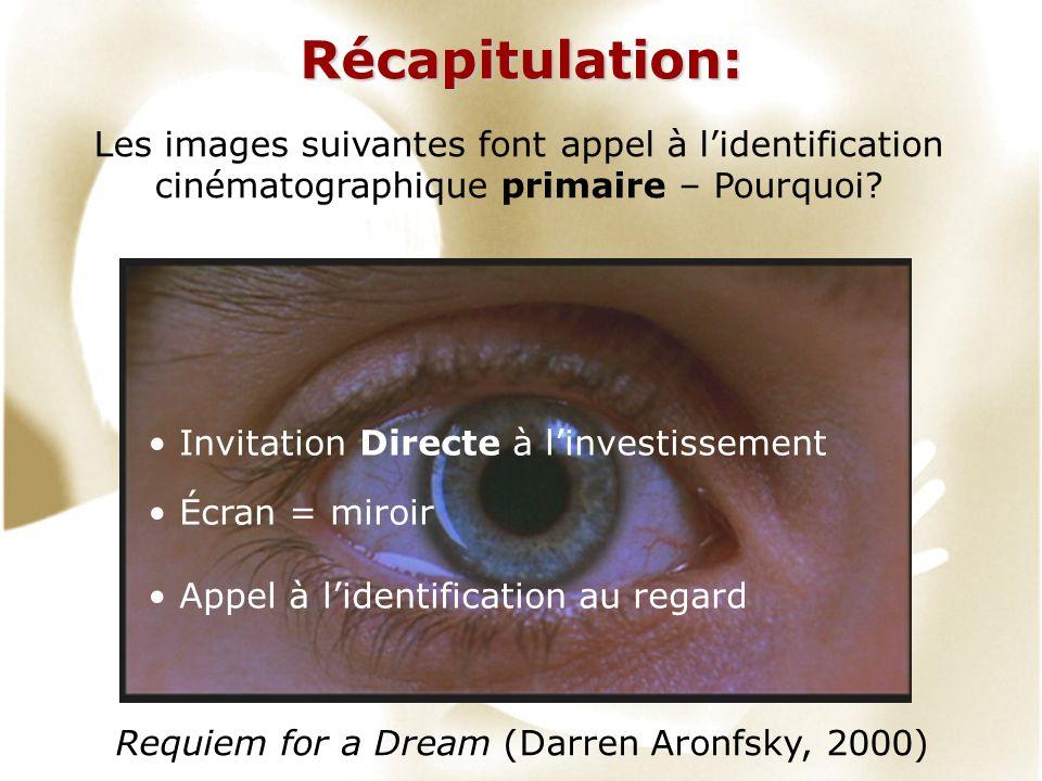 Récapitulation: Requiem for a Dream (Darren Aronfsky, 2000) Les images suivantes font appel à lidentification cinématographique primaire – Pourquoi.