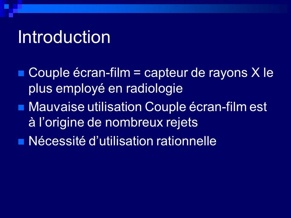 Introduction Couple écran-film = capteur de rayons X le plus employé en radiologie Mauvaise utilisation Couple écran-film est à lorigine de nombreux rejets Nécessité dutilisation rationnelle