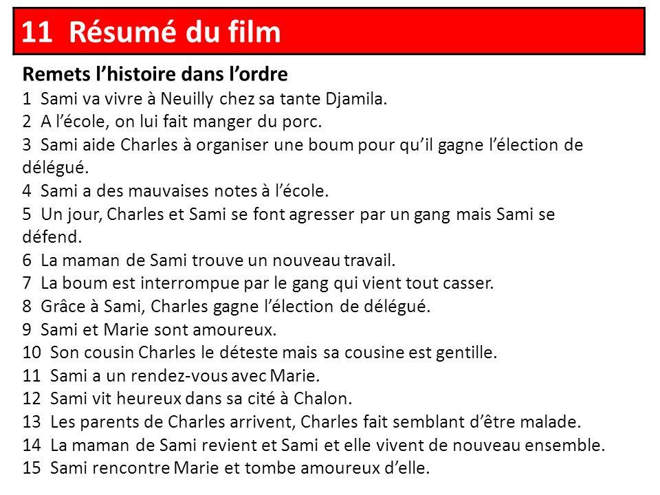 11 Résumé du film Remets lhistoire dans lordre 1 Sami va vivre à Neuilly chez sa tante Djamila.