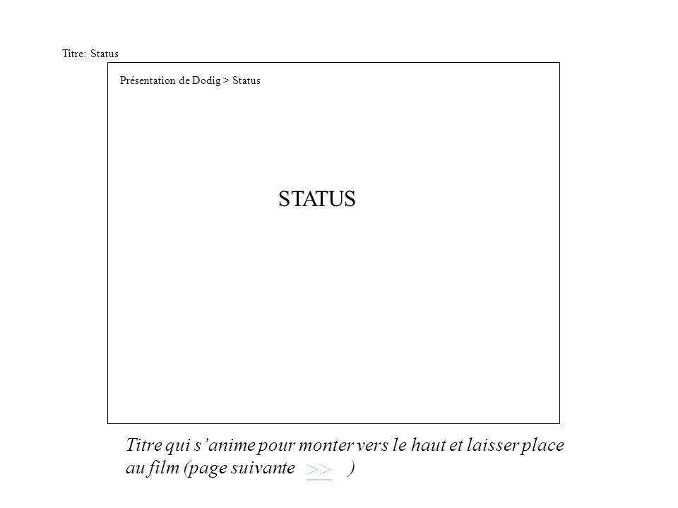 Titre: Status STATUS >> Présentation de Dodig > Status Titre qui sanime pour monter vers le haut et laisser place au film (page suivante )