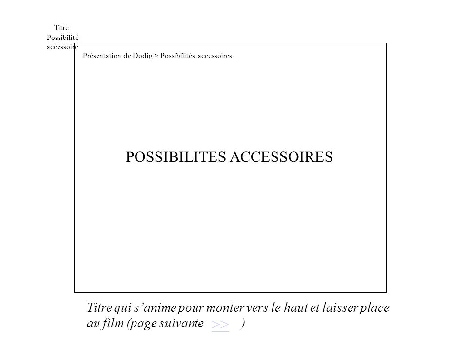 Titre: Possibilité accessoire >> POSSIBILITES ACCESSOIRES Présentation de Dodig > Possibilités accessoires Titre qui sanime pour monter vers le haut et laisser place au film (page suivante )