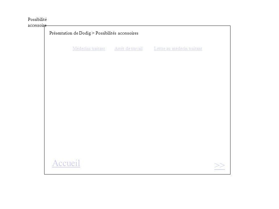 Possibilité accessoire >> Présentation de Dodig > Possibilités accessoires Médecins traitantArrêt de travail Lettre au médecin traitant Accueil