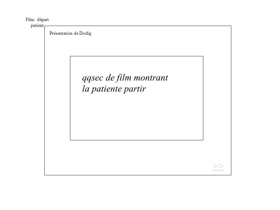 Film: départ patient qqsec de film montrant la patiente partir >> Présentation de Dodig