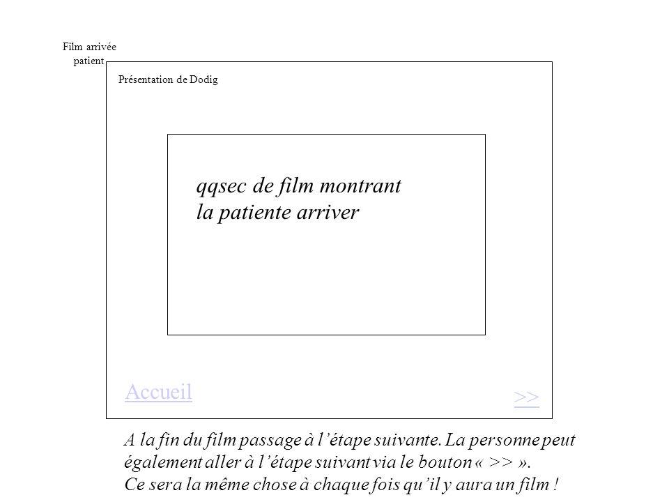 Film arrivée patient qqsec de film montrant la patiente arriver >> A la fin du film passage à létape suivante.
