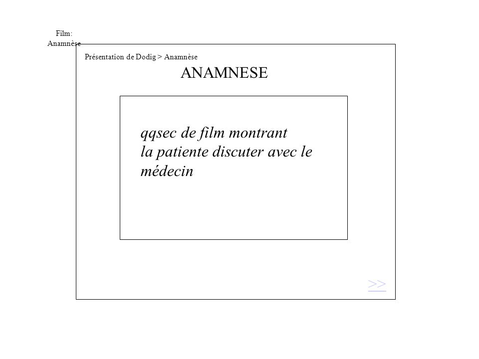 Film: Anamnèse qqsec de film montrant la patiente discuter avec le médecin >> ANAMNESE Présentation de Dodig > Anamnèse