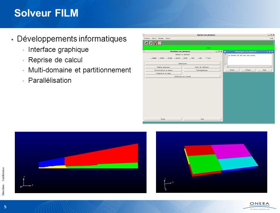 Direction - Conférence 5 Solveur FILM Développements informatiques Interface graphique Reprise de calcul Multi-domaine et partitionnement Parallélisation