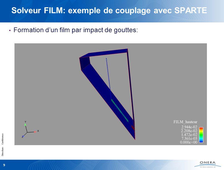 Direction - Conférence 9 Solveur FILM: exemple de couplage avec SPARTE Formation dun film par impact de gouttes: