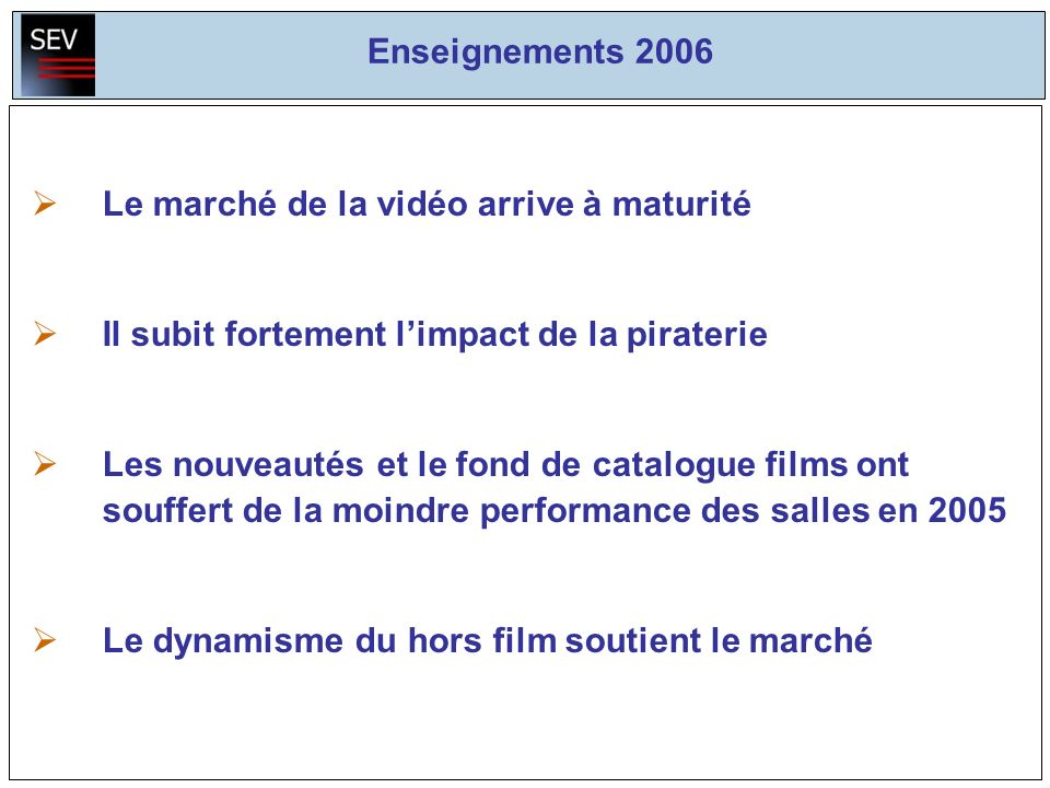 Enseignements 2006 Le marché de la vidéo arrive à maturité Il subit fortement limpact de la piraterie Les nouveautés et le fond de catalogue films ont