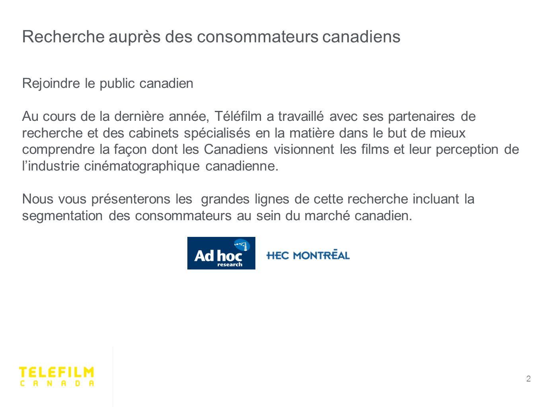 Recherche auprès des consommateurs canadiens 2 Rejoindre le public canadien Au cours de la dernière année, Téléfilm a travaillé avec ses partenaires de recherche et des cabinets spécialisés en la matière dans le but de mieux comprendre la façon dont les Canadiens visionnent les films et leur perception de lindustrie cinématographique canadienne.