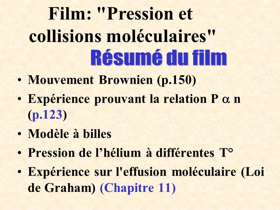 Mouvement Brownien (p.150) Expérience prouvant la relation P n (p.123) Modèle à billes Pression de lhélium à différentes T° Expérience sur l'effusion