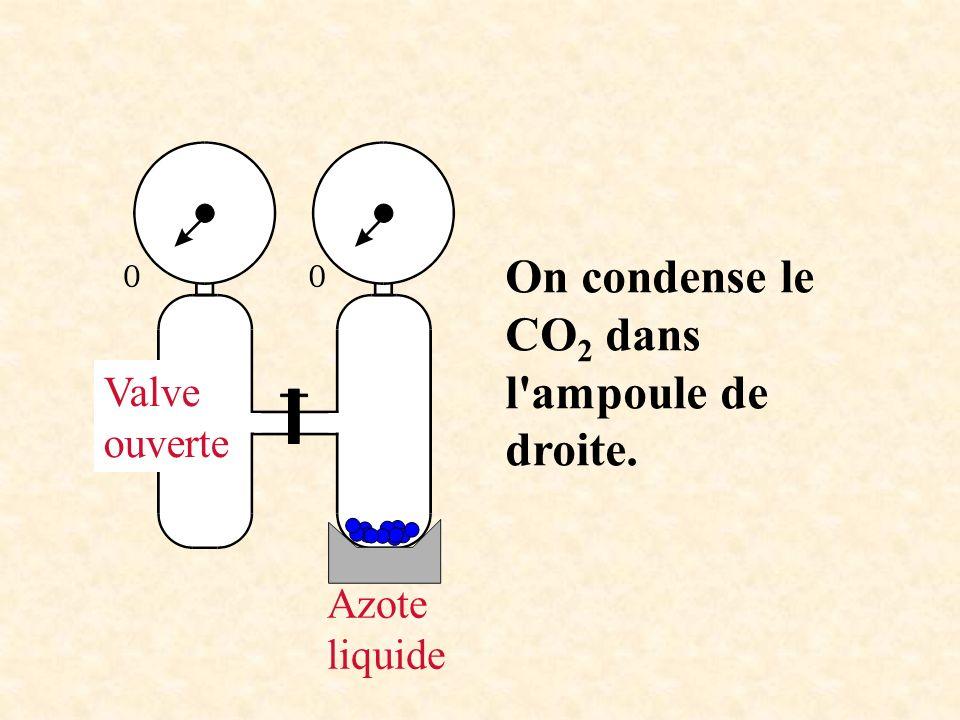 Azote liquide On condense le CO 2 dans l'ampoule de droite. Valve ouverte
