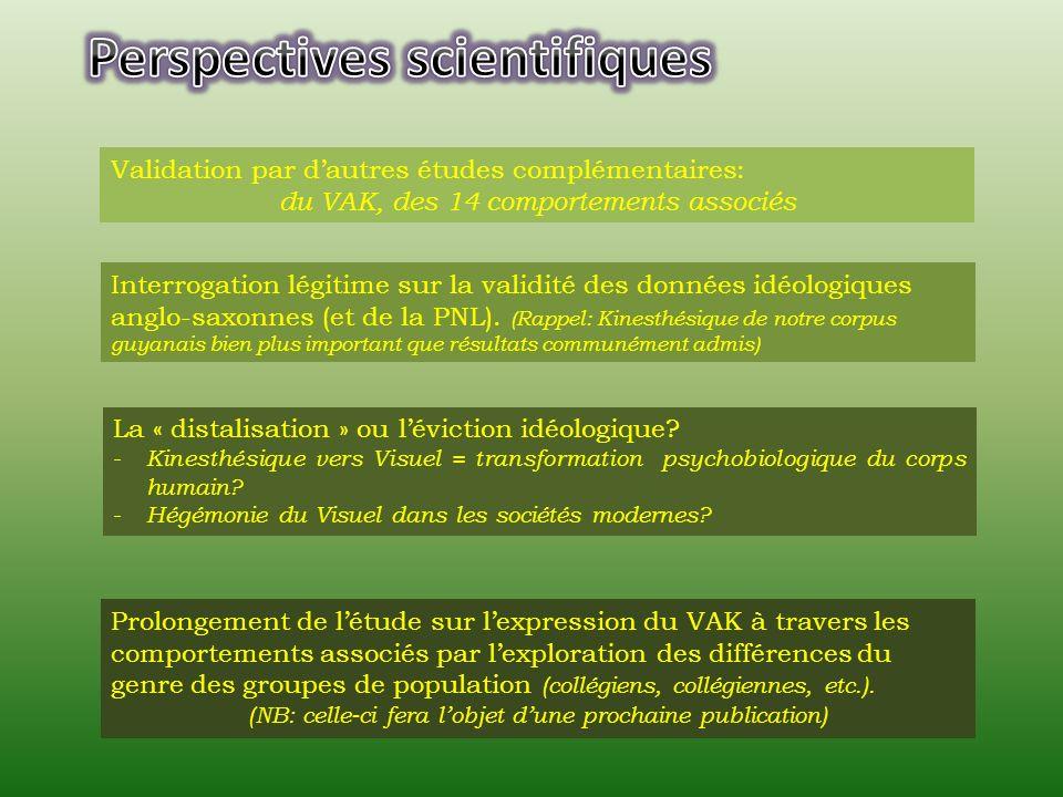 Validation par dautres études complémentaires: du VAK, des 14 comportements associés Interrogation légitime sur la validité des données idéologiques anglo-saxonnes (et de la PNL).