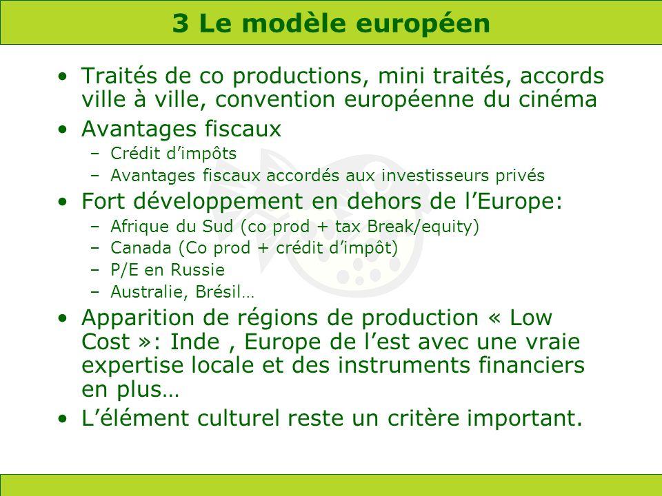 3 Le modèle européen Traités de co productions, mini traités, accords ville à ville, convention européenne du cinéma Avantages fiscaux –Crédit dimpôts –Avantages fiscaux accordés aux investisseurs privés Fort développement en dehors de lEurope: –Afrique du Sud (co prod + tax Break/equity) –Canada (Co prod + crédit dimpôt) –P/E en Russie –Australie, Brésil… Apparition de régions de production « Low Cost »: Inde, Europe de lest avec une vraie expertise locale et des instruments financiers en plus… Lélément culturel reste un critère important.